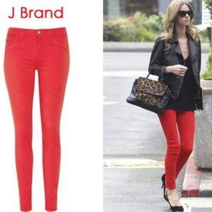 NWT! J Brand skinny leg jean bright red 32